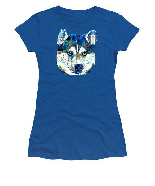Colorful Husky Dog Art By Sharon Cummings Women's T-Shirt (Junior Cut) by Sharon Cummings