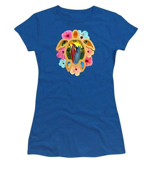 Hawaiian Surfboard Sunset Women's T-Shirt (Junior Cut) by Chris MacDonald