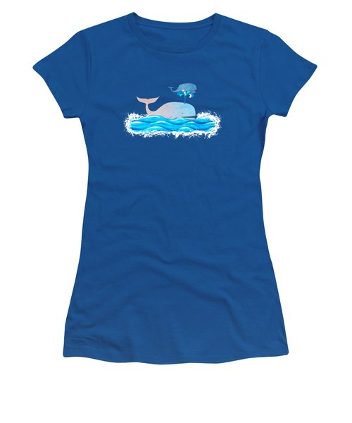 How Whales Have Fun Women's T-Shirt (Junior Cut) by Shawna Rowe
