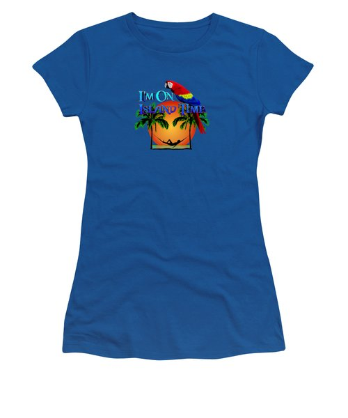 Island Time And Parrot Women's T-Shirt (Junior Cut) by Chris MacDonald