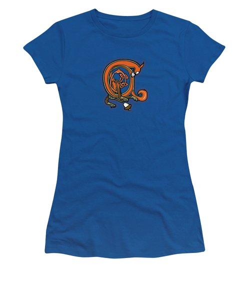 Medieval Squirrel Blue A Women's T-Shirt (Junior Cut) by Donna Huntriss