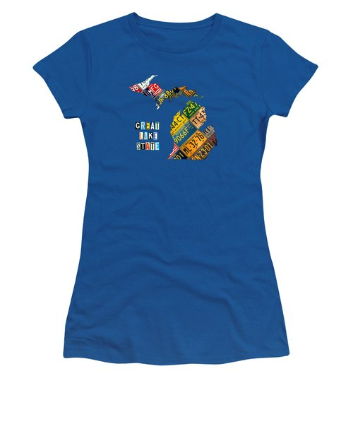 Michigan License Plate Map Great Lake State With Vintage Blue Plate Background Edition Women's T-Shirt (Junior Cut) by Design Turnpike