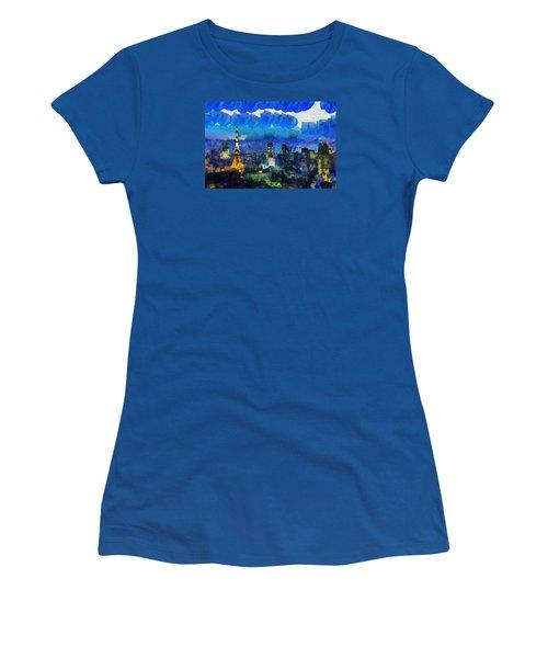 Paris Inside Tokyo Women's T-Shirt (Junior Cut) by Sir Josef - Social Critic - ART