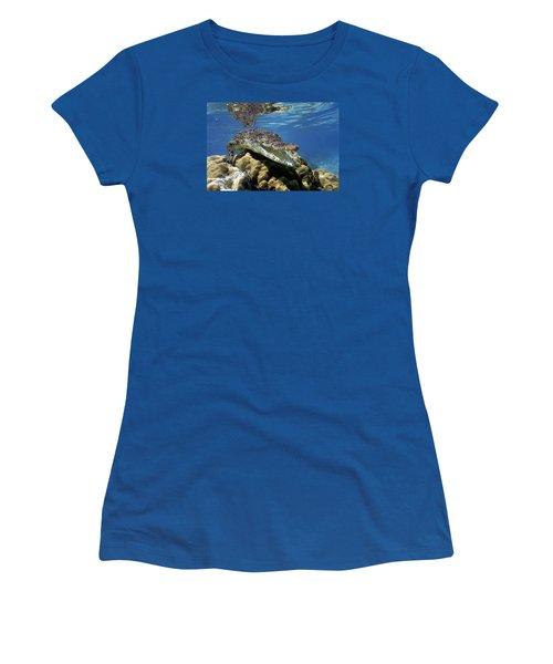 Saltwater Crocodile Smile Women's T-Shirt (Junior Cut) by Mike Parry