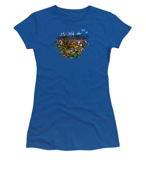 Siuslaw River Floral Women's T-Shirt (Junior Cut) by Thom Zehrfeld