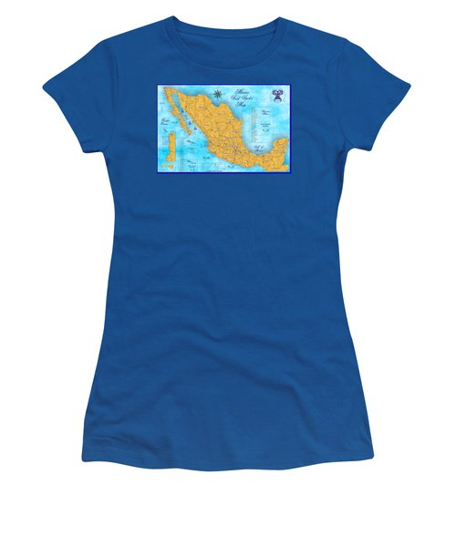 Mexico Surf Map  Women's T-Shirt (Junior Cut) by Lucan Hirales