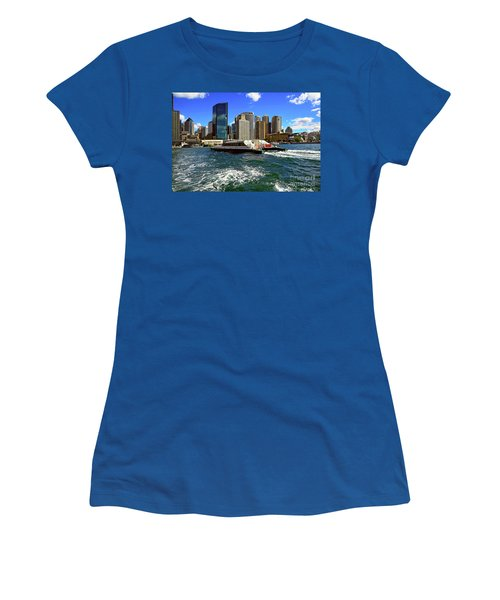 Sydney Skyline From Harbor By Kaye Menner Women's T-Shirt (Junior Cut) by Kaye Menner