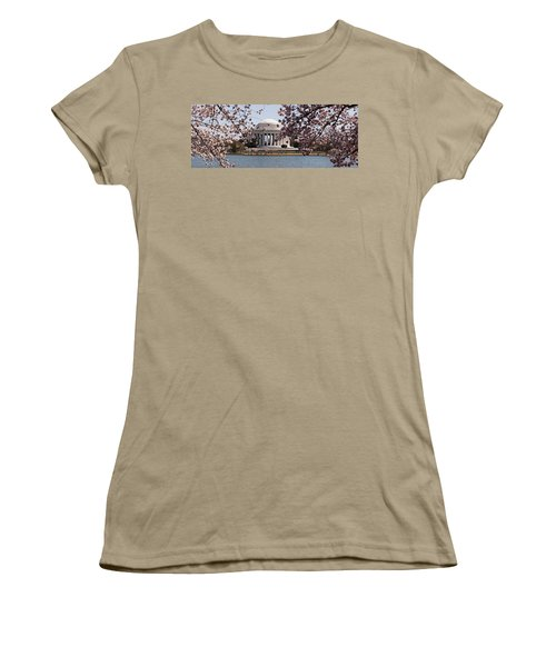 Cherry Blossom Trees In The Tidal Basin Women's T-Shirt (Junior Cut) by Panoramic Images