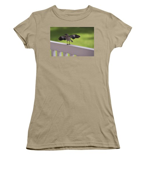 A Little Visitor Northern Mockingbird Women's T-Shirt (Junior Cut) by Terry DeLuco