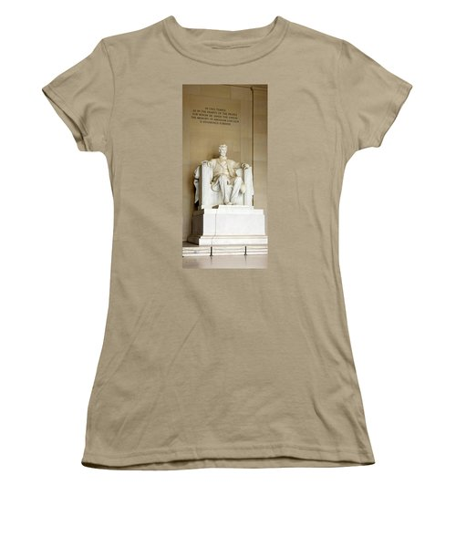 Abraham Lincolns Statue In A Memorial Women's T-Shirt (Junior Cut) by Panoramic Images