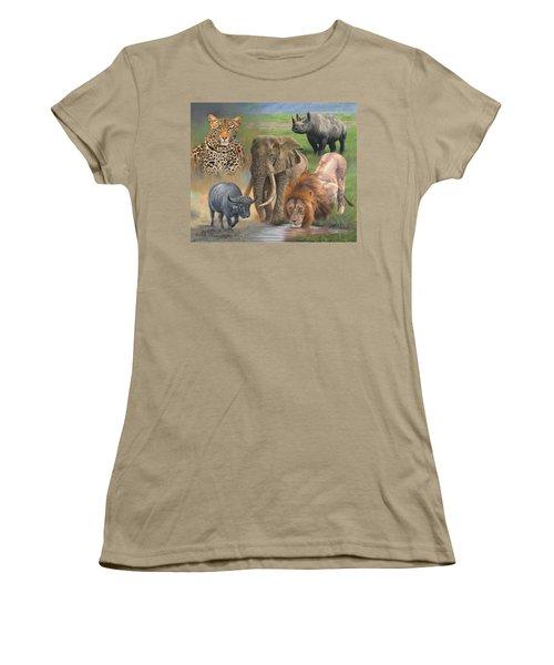Africa's Big Five Women's T-Shirt (Junior Cut) by David Stribbling