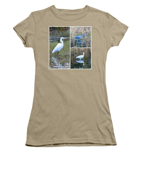 Birds On Pond Collage Women's T-Shirt (Junior Cut) by Carol Groenen