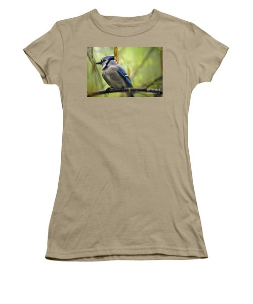 Blue Jay On A Misty Spring Day Women's T-Shirt (Junior Cut) by Lois Bryan