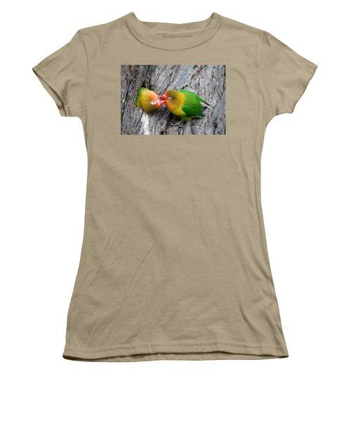 Close-up Of A Pair Of Lovebirds, Ndutu Women's T-Shirt (Junior Cut) by Panoramic Images