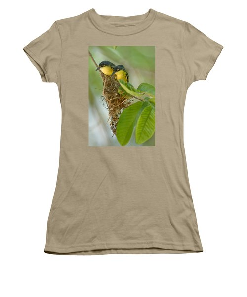 Close-up Of Two Common Tody-flycatchers Women's T-Shirt (Junior Cut) by Panoramic Images