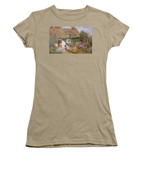 Feeding The Pigeons Women's T-Shirt (Junior Cut) by Arthur Claude Strachan