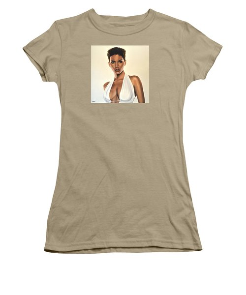 Halle Berry Painting Women's T-Shirt (Junior Cut) by Paul Meijering
