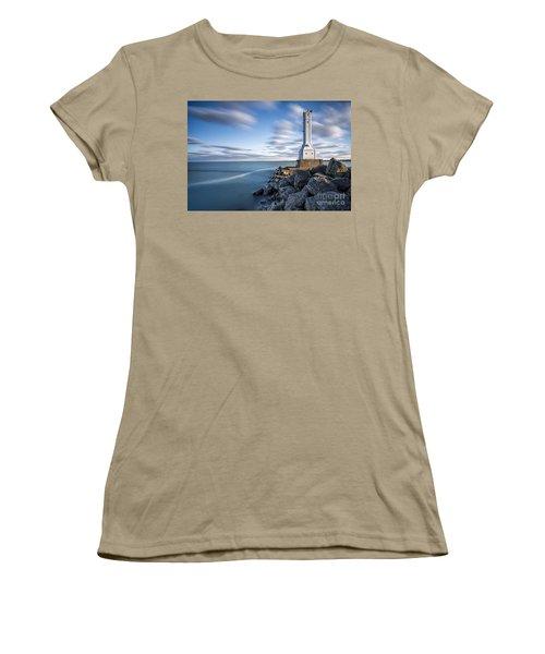 Huron Harbor Lighthouse Women's T-Shirt (Junior Cut) by James Dean
