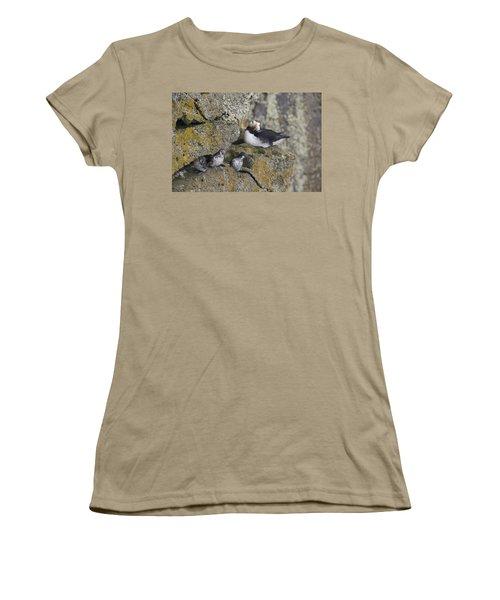 Least Auklets Perched On A Narrow Ledge Women's T-Shirt (Junior Cut) by Milo Burcham