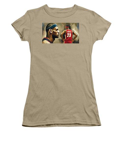 Lebron James Artwork 1 Women's T-Shirt (Junior Cut) by Sheraz A