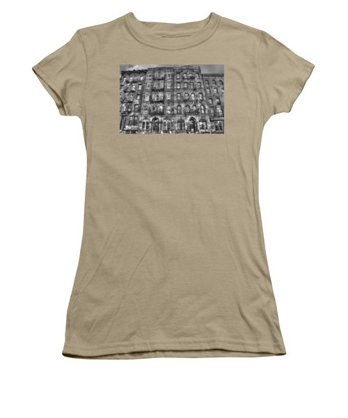 Led Zeppelin Physical Graffiti Building In Black And White Women's T-Shirt (Junior Cut) by Randy Aveille