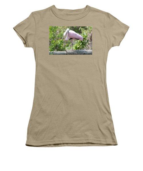 Light Pink Roseate Spoonbill Women's T-Shirt (Junior Cut) by Carol Groenen