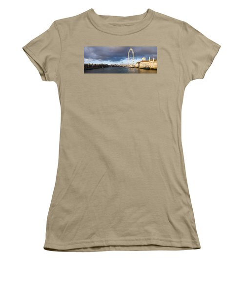 London Eye At South Bank, Thames River Women's T-Shirt (Junior Cut) by Panoramic Images