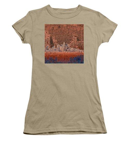 Los Angeles Skyline Abstract 7 Women's T-Shirt (Junior Cut) by Bekim Art