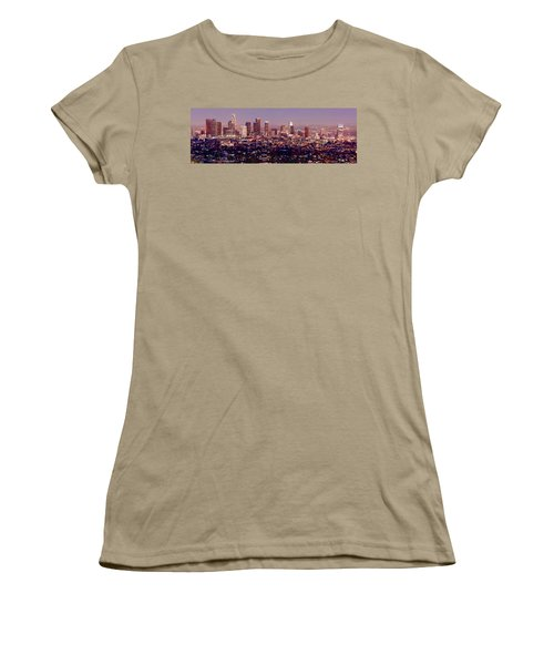 Los Angeles Skyline At Dusk Women's T-Shirt (Junior Cut) by Jon Holiday