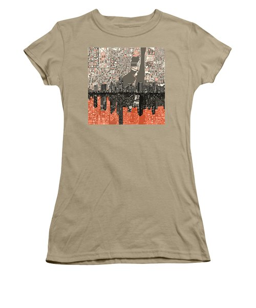Miami Skyline Abstract 2 Women's T-Shirt (Junior Cut) by Bekim Art