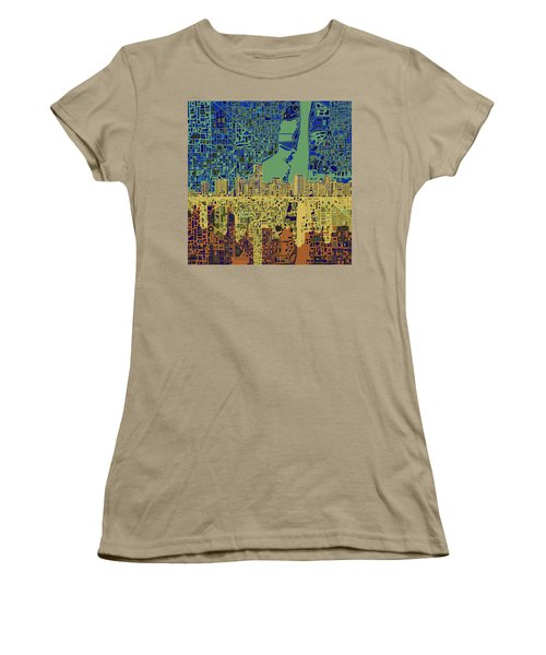 Miami Skyline Abstract 7 Women's T-Shirt (Junior Cut) by Bekim Art