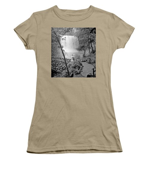 Women's T-Shirt (Junior Cut) featuring the photograph Minnehaha Falls Minneapolis Minnesota 1915 Vintage Photograph by A Gurmankin