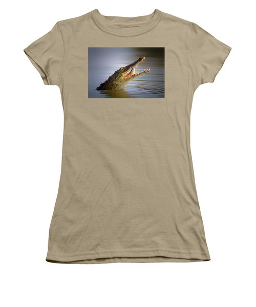 Nile Crocodile Swollowing Fish Women's T-Shirt (Junior Cut) by Johan Swanepoel