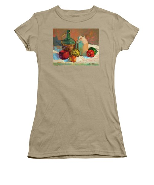 Pottery And Vegetables Women's T-Shirt (Junior Cut) by Diane McClary
