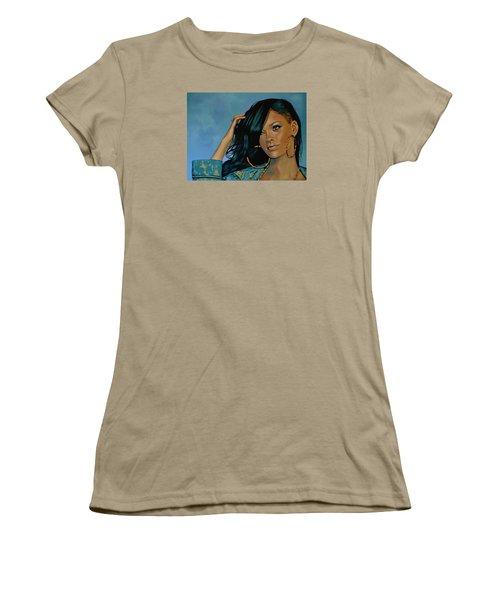 Rihanna Painting Women's T-Shirt (Junior Cut) by Paul Meijering