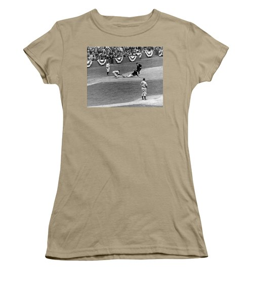 Spud Chandler Is Out At Third In The Second Game Of The 1941 Wor Women's T-Shirt (Junior Cut) by Underwood Archives