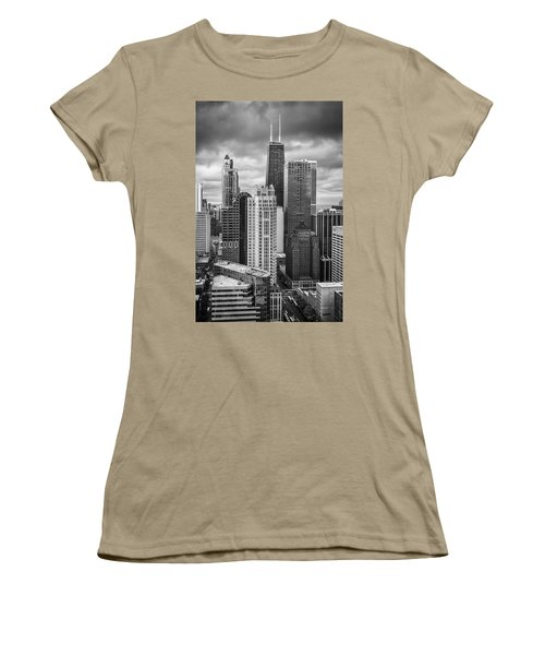 Streeterville From Above Black And White Women's T-Shirt (Junior Cut) by Adam Romanowicz