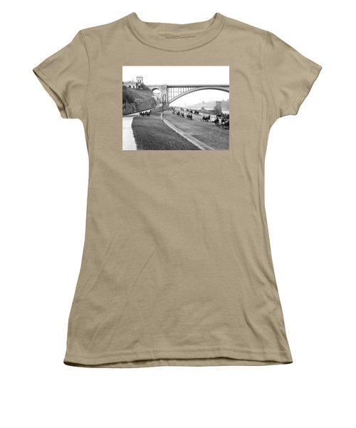 The Harlem River Speedway Women's T-Shirt (Junior Cut) by Detroit Publishing Company