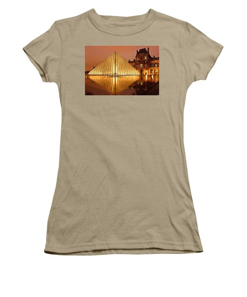 The Louvre By Night Women's T-Shirt (Junior Cut) by Ayse Deniz