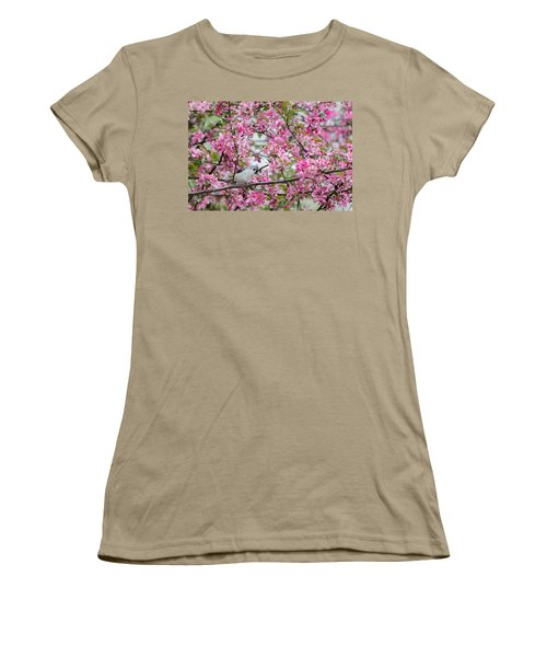 Tufted Titmouse In A Pear Tree Women's T-Shirt (Junior Cut) by Bill Wakeley