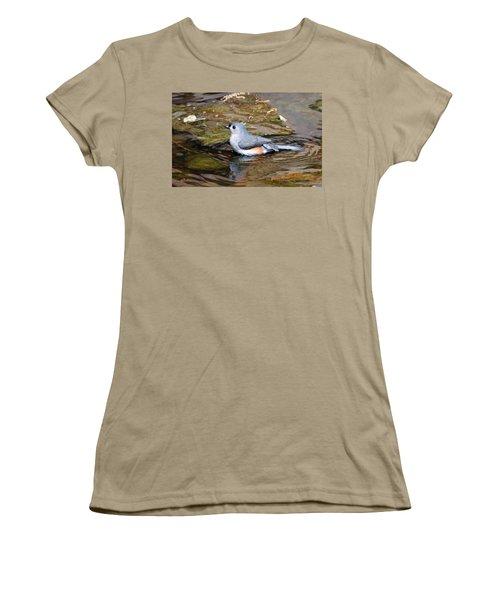 Tufted Titmouse In Pond II Women's T-Shirt (Junior Cut) by Sandy Keeton