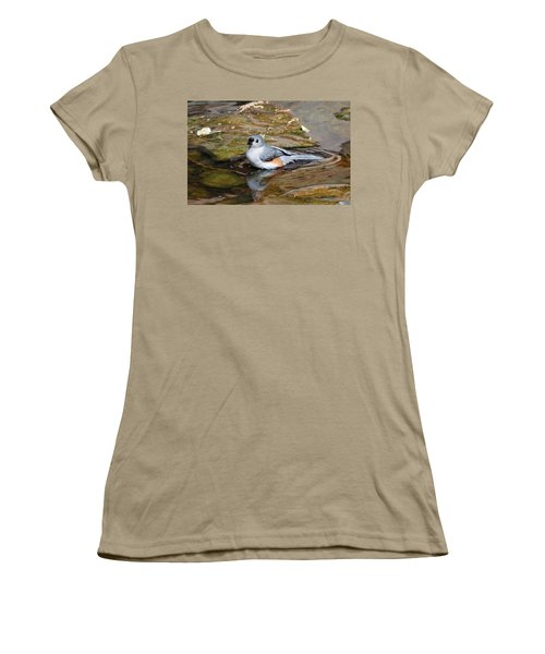 Tufted Titmouse In Pond Women's T-Shirt (Junior Cut) by Sandy Keeton