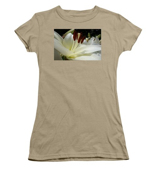White Asiatic Lily Women's T-Shirt (Junior Cut) by Jacqueline Athmann