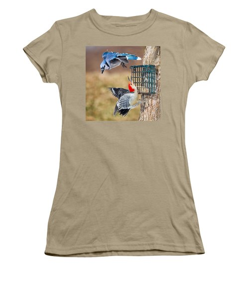 Woodpeckers And Blue Jays Square Women's T-Shirt (Junior Cut) by Bill Wakeley