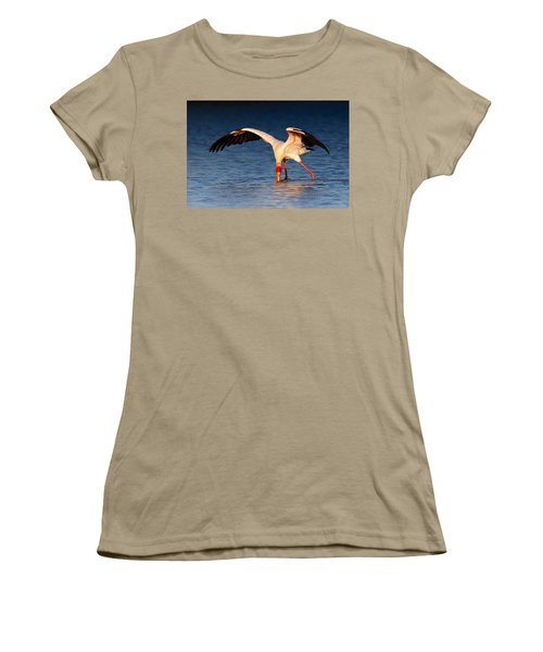 Yellow-billed Stork Hunting For Food Women's T-Shirt (Junior Cut) by Johan Swanepoel