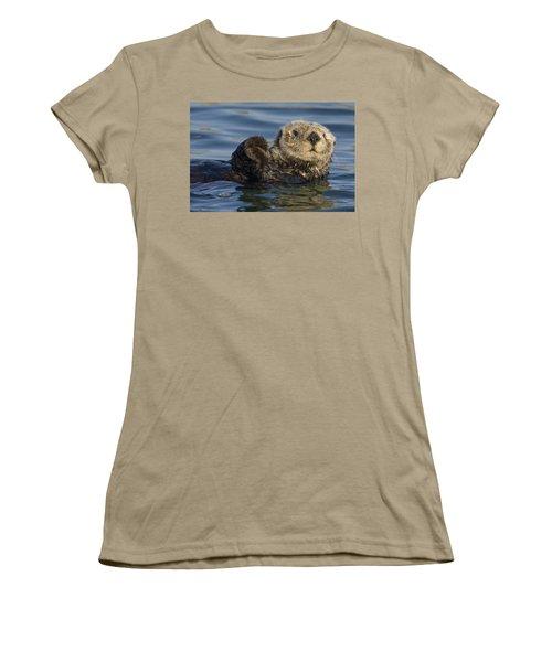 Sea Otter Monterey Bay California Women's T-Shirt (Junior Cut) by Suzi Eszterhas