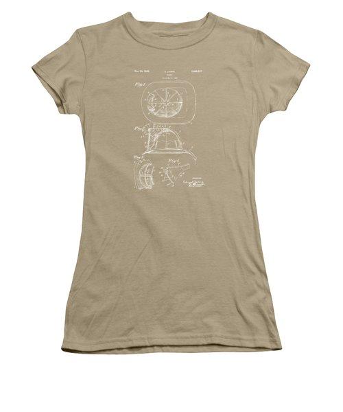 1932 Fireman Helmet Artwork Blueprint Women's T-Shirt (Junior Cut) by Nikki Marie Smith