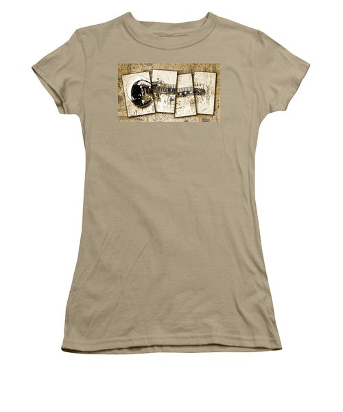 1955 Les Paul Custom Black Beauty V5 Women's T-Shirt (Junior Cut) by Gary Bodnar