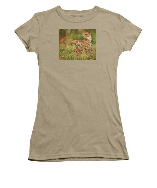 Cheetahs Women's T-Shirt (Junior Cut) by David Stribbling