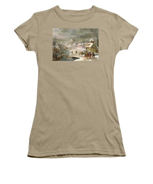 A Winter Landscape With Travellers On A Path Women's T-Shirt (Junior Cut) by Denys van Alsloot